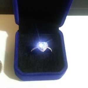 New Sterling Silver Heart Shaped Cubic Zirco